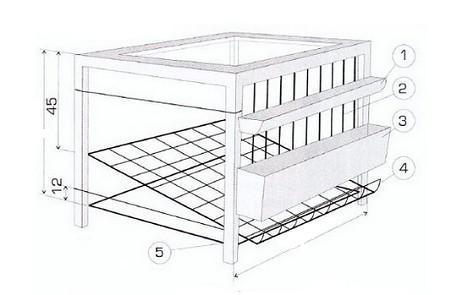 Схема клетки для кур несушек