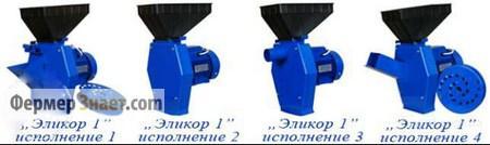 Модельный ряд зернодробилок Эликор