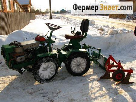 Самодельный мини-трактор с плугом